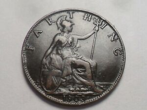 1903 SUPERB   GREAT BRITAIN BRONZE FARTHING LOW MINTAGE 5 331 000