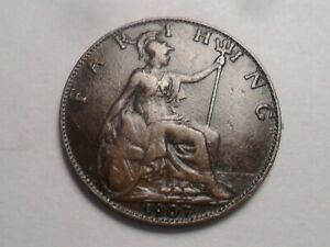 1907 SUPERB   GREAT BRITAIN BRONZE FARTHING LOW MINTAGE 4 399 000
