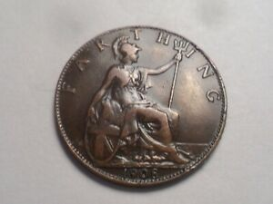 1908 SUPERB   GREAT BRITAIN BRONZE FARTHING LOW MINTAGE 4 265 000
