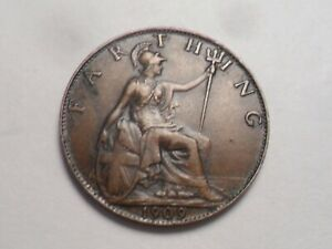 1909 SUPERB   GREAT BRITAIN BRONZE FARTHING LOW MINTAGE 8 852 000