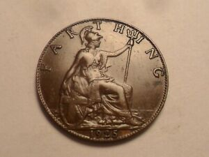 1925 SUPERB   GREAT BRITAIN BRONZE FARTHING LOW MINTAGE 12 635 000
