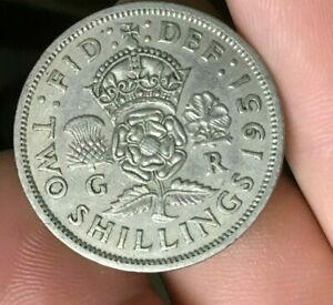 1951 GREAT BRITAIN  TWO SHILLINGS 2 SHILLINGS ENGLAND BRITISH 1 COIN