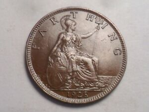 1928 SUPERB   GREAT BRITAIN BRONZE FARTHING LOW MINTAGE 11 626 000