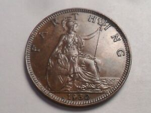 1930 SUPERB   GREAT BRITAIN BRONZE FARTHING LOW MINTAGE 4 195 000