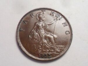 1932 SUPERB   GREAT BRITAIN BRONZE FARTHING LOW MINTAGE 9 293 000