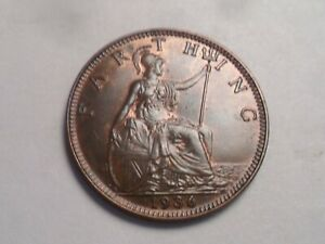 1936 SUPERB   GREAT BRITAIN BRONZE FARTHING LOW MINTAGE 9 734 000
