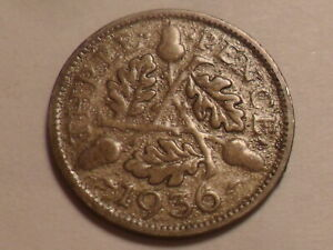 1936 NICE GREAT BRITAIN 50  SILVER THREEPENCE LOW MINTAGE 3 239 000