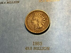 1863 CN INDIAN HEAD CENT PENNY WHOLESALE ON AN VF IS $22 CIVIL WAR ERA COIN