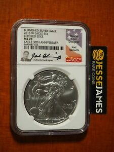 2016 W BURNISHED SILVER EAGLE NGC MS70  JOEL ISKOWITZ SIGNED LOW POP