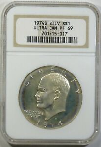 1974 S PROOF EISENHOWER SILVER DOLLAR NGC PF69 ULTRA CAMEO IKE