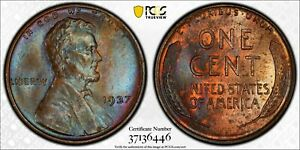 1937 1C LINCOLN CENT PCGS MS64BN 37136446 TONED W/ TRUEVIEW  10K