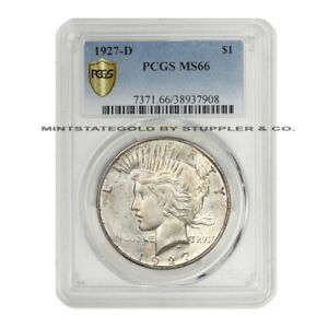 Click now to see the BUY IT NOW Price! VERY  1927 D $1 PEACE PCGS MS66 GEM GRADED DENVER SILVER DOLLAR COIN