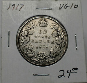 1917 SILVER CANADIAN 50 CENT VG10 CONDITION B126