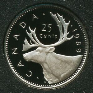 1989 CANADA 25 CENTS PROOF QUARTER HEAVY CAMEO COIN