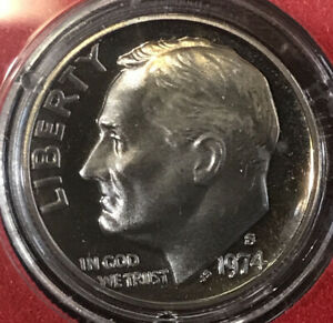 1974 S ROOSEVELT DIME FROM PROOF SET WITH