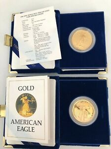Click now to see the BUY IT NOW Price! 2 1986 $50 AMERICAN EAGLE PROOF 1 OZ GOLD COINS   3  1986 BU 1 OZ GOLD COINS