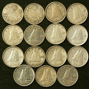 1930 TO 1954 CANADA 10 CENTS LOT OF 15 SILVER 6424