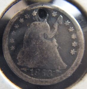 1853 HALF DIME WITH ARROWS HOLED