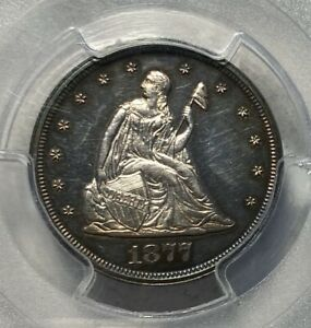 Click now to see the BUY IT NOW Price! 1877 SEATED LIBERTY 20C PCGS PROOF 63 CAMEO