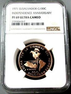 Click now to see the BUY IT NOW Price! 1971 GOLD EL SALVADOR NGC PROOF 69 ULTRA CAMEO 100 COLONES INDEPENDENCE ANNIV