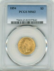 Click now to see the BUY IT NOW Price! 1854 THREE DOLLAR PRE 33 GOLD $3 MS 63   PCGS