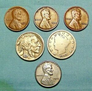 LOT OF OLD US COINS BUFFALO LIBERTY NICKEL STEEL CENT WITH 3 WHEAT  LINCOLNS
