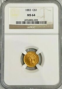 1883 $1 DOLLAR GOLD COIN TYPE 3 NGC MS 64