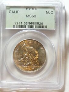 1925 S CALIFORNIA DIAMOND JUBILEE HALF DOLLAR PCGS MS 63 OGH