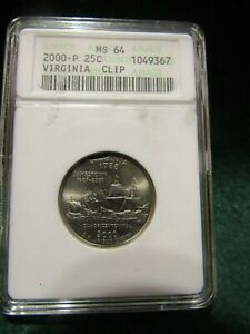 U.S. 2000 P 25C VIRGINIA QUARTER CLIP ERROR ANACS MS64