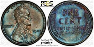1942 1C LINCOLN CENT PCGS MS62BN 32616321 TONED W/ TRUEVIEW  24H