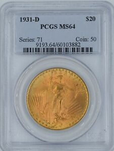 Click now to see the BUY IT NOW Price! 1931 D $20 SAINT GAUDENS MS 64 PCGS WOW