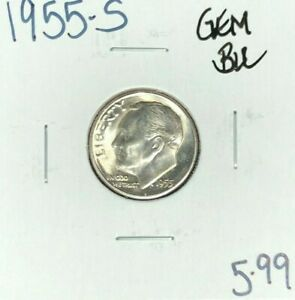 1955 S ROOSEVELT SILVER DIME   GEM BU BEAUTIFUL COIN  FRESH FROM ORG. ROLL