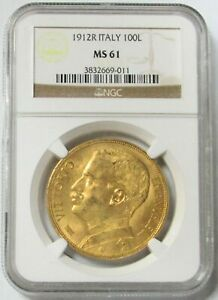 Click now to see the BUY IT NOW Price! 1912 R GOLD ITALY 100 LIRE NGC MINT STATE 61 VITTORIO EMANUELE III