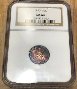 1890 SEATED LIBERTY DIME 10 CENT NGC MS 64 OBVERSE & REVERSE FULL COLOR TONED