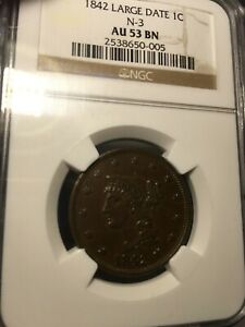 1842 BRAIDED HAIR LARGE CENT NGC AU 53 BN LARGE DATE.  CLEAN FIELDS.  NO SPOTS.