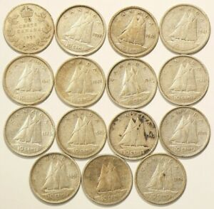 1929 TO 1954 CANADA 10 CENTS SILVER LOT OF 15 6975