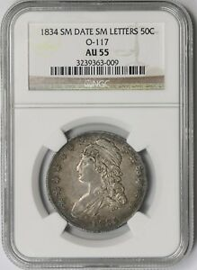 1834 O 117 SMALL DATE SMALL LETTERS 50C NGC AU 55 CAPPED BUST HALF DOLLAR