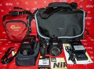 NIKON D5300 24MP DSLR BODY  BLACK    BUNDLE  VERY LOW SC & NEAR MINT CONDITION