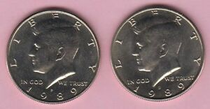 HALF DOLLAR LOT OF CIRCULATED KENNEDY HALVES 1989P AND 1989D 2 COIN SET