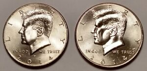 HALF DOLLAR LOT OF CIRCULATED KENNEDY HALVES 2014P AND 2014D 2 COIN SET