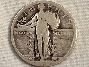 VINTAGE STANDING LIBERTY QUARTER DOLLAR  AS IS