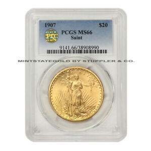 1907 $20 GOLD SAINT GAUDENS PCGS MS66 PQ APPROVED GEM GRADED DOUBLE EAGLE COIN