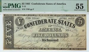 Click now to see the BUY IT NOW Price! T 12 PF 1 $5 CONFEDERATE PAPER MONEY 1861   PMG ABOUT UNCIRCULATED 55