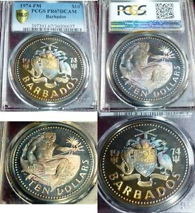 Click now to see the BUY IT NOW Price! GRADE PR67  DCAM  $10 BARBADOS 1974 FM . PCGS GOLD SHIELD