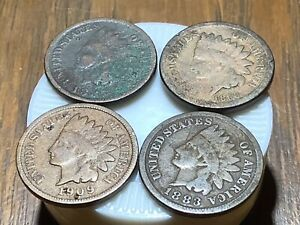 4 INDIAN HEAD CENTS   1860 1883 1885 1909