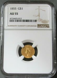 1855 GOLD UNITED STATES PRINCESS HEAD $1 DOLLAR COIN NGC ABOUT UNC 55