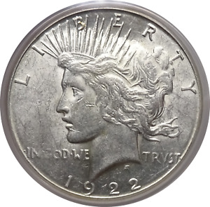 1922 S PEACE SILVER DOLLAR   PCGS AU 55   WHITE LUSTER