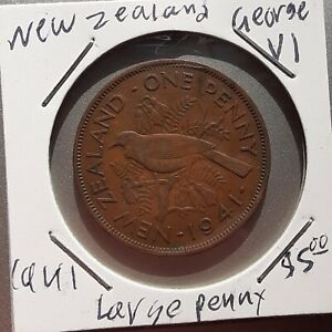 1941 NEW ZEALAND LARGE PENNY COIN GEORGE VI 6TH KM 13