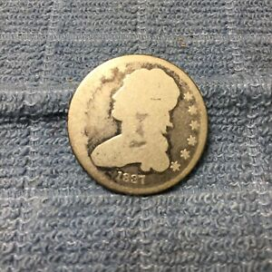 1837 CAPPED BUST QUARTER CIRCULATED  NICE COIN