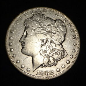 1882 CC MORGAN SILVER DOLLAR   CHOICE FINE F  DETAILS FROM THE CARSON CITY MINT